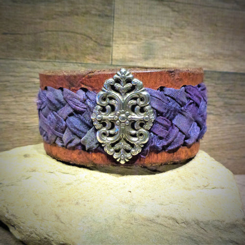 Mauve Sari Ribbon Braided Leather Cuff with Silver Floral Concho