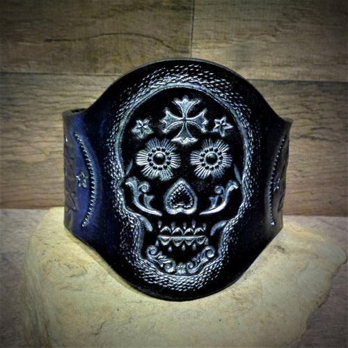 Hand Tooled Metallic Silver Sugar Skull Leather Cuff