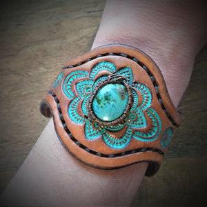 Wire Wrapped Vintage American Turquoise Tooled Leather Cuff