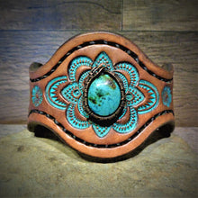 Load image into Gallery viewer, Wire Wrapped Vintage American Turquoise Tooled Leather Cuff
