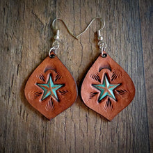 Load image into Gallery viewer, Hand Tooled Leather Distressed Turquoise Star Earrings