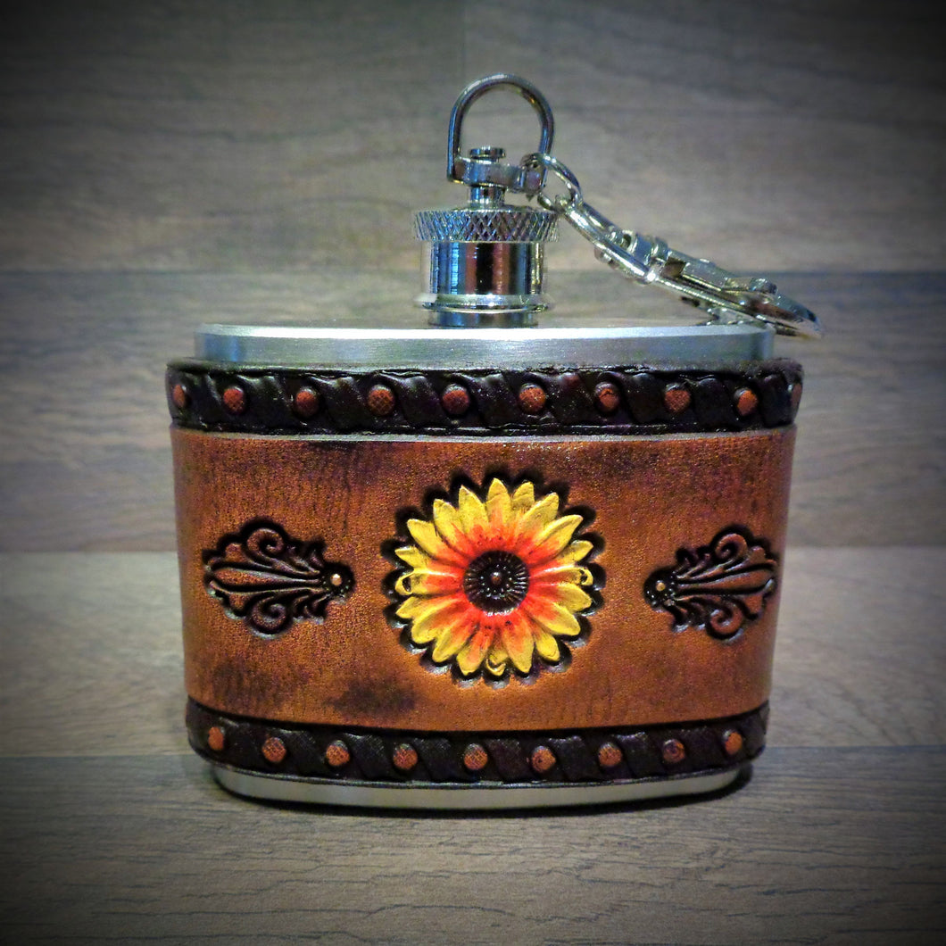 Sunflower Leather Wrapped 2oz Stainless Steel Clip Flask