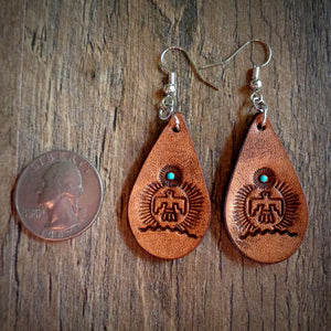 Hand Tooled Leather Thunderbird Petite Tear Drop Earrings