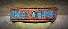 Load image into Gallery viewer, Hand Tooled Leather Cuff with Stormy Mountain Turquoise Inlay