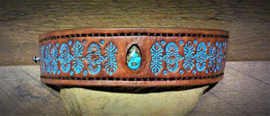 Hand Tooled Leather Cuff with Stormy Mountain Turquoise Inlay