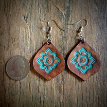 Load image into Gallery viewer, Hand Tooled Leather Turquoise Mandala Tear Drop Earrings