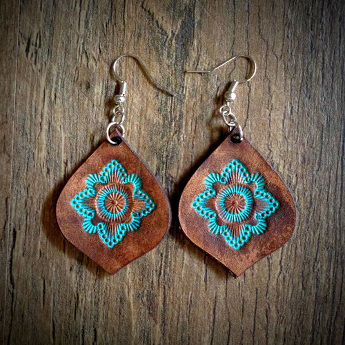 diamond shaped leather earrings turquoise and mahogany tooled  leather earrings Leather floral earrings