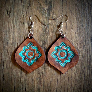 Hand Tooled Leather Turquoise Mandala Tear Drop Earrings