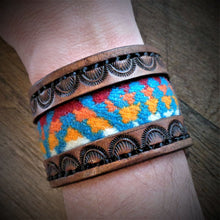 Load image into Gallery viewer, Brown Hand Tooled Leather and Turquoise Pendleton Wool Inlay Cuff