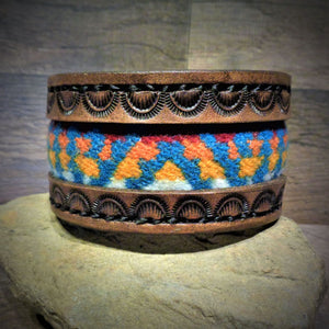 Brown Hand Tooled Leather and Turquoise Pendleton Wool Inlay Cuff