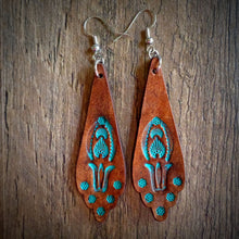 Load image into Gallery viewer, Hand Tooled Leather Turquoise Floral Scallop Earrings