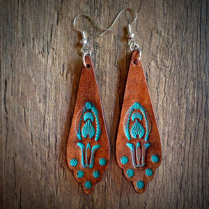 Hand Tooled Leather Turquoise Floral Scallop Earrings