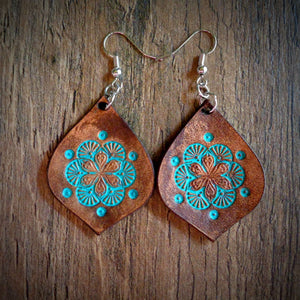 Hand Tooled Leather Turquoise Floral Tear Drop Earrings