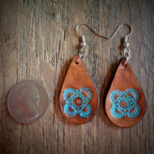 Load image into Gallery viewer, Hand Tooled Leather Turquoise Mandala Petite Tear Drop Earrings