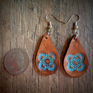 Hand Tooled Leather Turquoise Mandala Petite Tear Drop Earrings