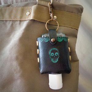 Turquoise Sugar Skull Leather Hand Sanitizer Case