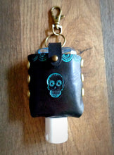 Load image into Gallery viewer, Turquoise Sugar Skull Leather Hand Sanitizer Case