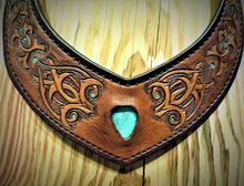 Load image into Gallery viewer, Hand Tooled Moorish Inspired Vintage Kingman Turquoise Inlay Leather Torc Necklace