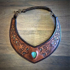 Hand Tooled Moorish Inspired Vintage Kingman Turquoise Inlay Leather Torc Necklace