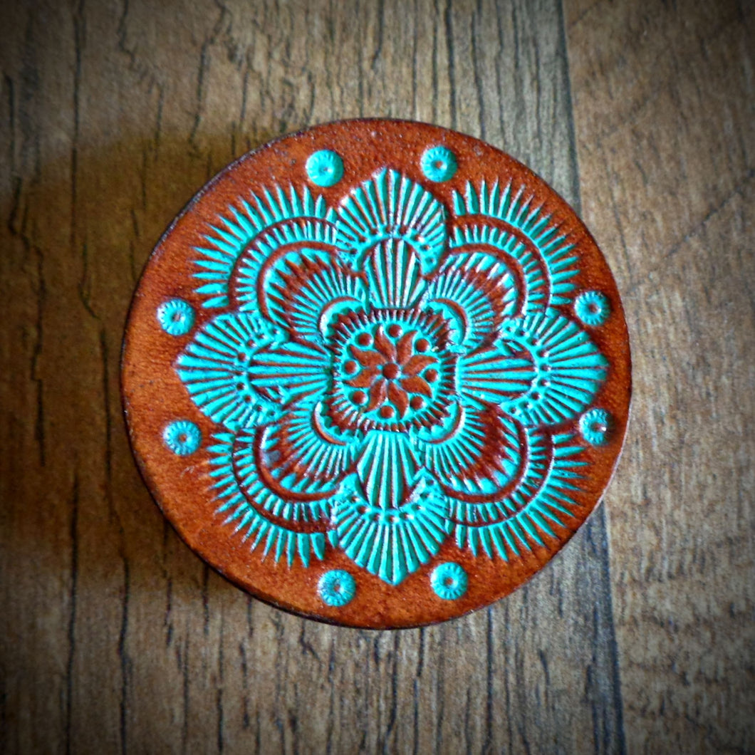 Hand Tooled Leather Turquoise Mandala Phone Grip
