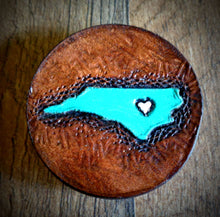 Load image into Gallery viewer, Hand Tooled Leather Turquoise North Carolina Phone Grip