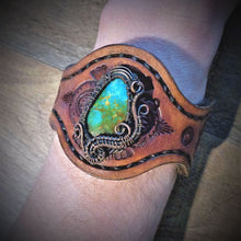 Load image into Gallery viewer, Copper Wire Woven Tyrone Turquoise Tooled Leather Cuff