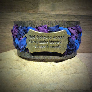 """Well Behaved Women..."" Purple and Blue Sari Ribbon Braided Leather Cuff"