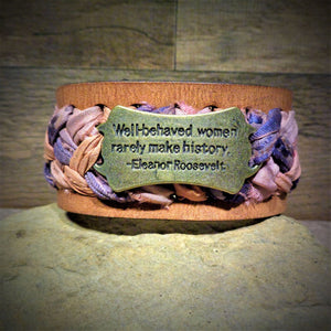 """Well Behaved Women..."" Peach and Mauve Sari Ribbon Braided Leather Cuff"