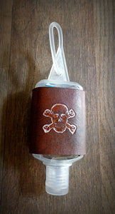 Skull and Crossbones Leather Hand Sanitzer Holder