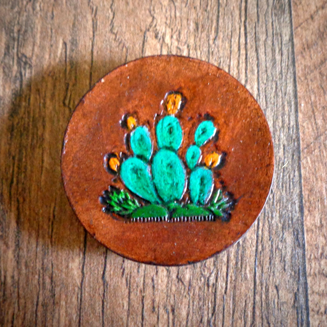 Hand Tooled Leather Prickly Pear Cactus Phone Grip