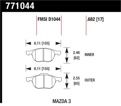 Hawk OES 08-09 Mazdaspeed3 / Ford/ Volvo OES Street Front Brake Pads