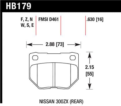 Hawk 2/1989-1996 Nissan 300ZX Base (Excl. Turbo) High Performance Street 5.0 Rear Brake Pads