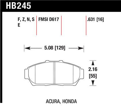 Hawk 1997-2001 Acura Integra GS High Performance Street 5.0 Front Brake Pads
