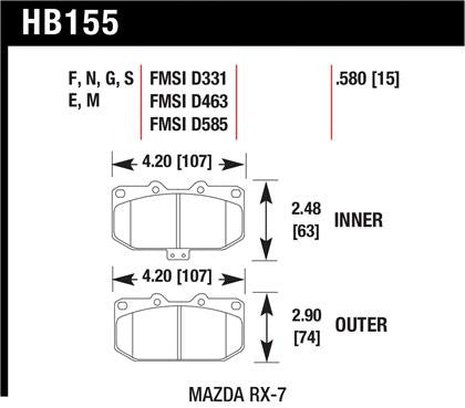 Hawk 1990-1990 Mazda RX-7 GXL (w/Elec Adjust Susp) High Performance Street 5.0 Front Brake Pads