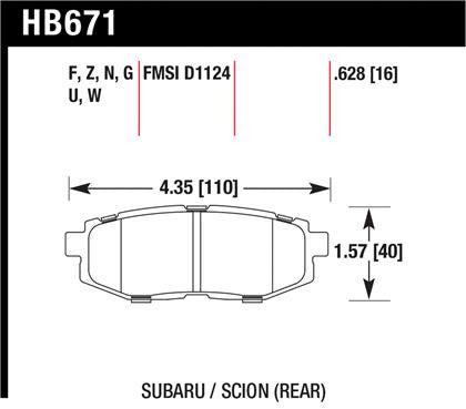 Hawk 2013-2014 Scion FR-S Base 2dr Coupe High Performance Street 5.0 Rear Brake Pads