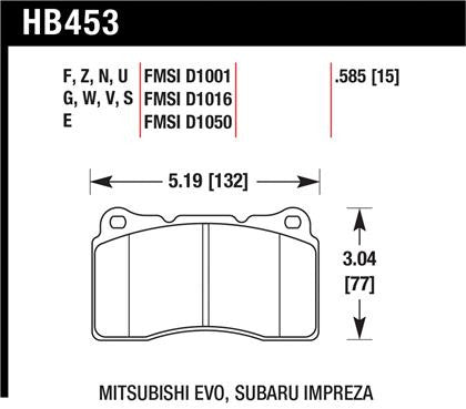 Hawk 03-06 Evo / 04-09 STi / 09-10 Genesis Coupe (Track Only) / 2010 Camaro SS / 08-09 Pontiac G8 GXP 6.2 HP+ Street Front Brake Pads