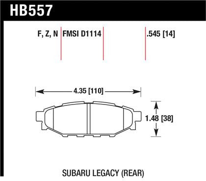 Hawk 08 WRX Rear Performance Ceramic Street Brake Pads