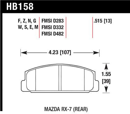 Hawk 2003-2005 Mazda 6 High Performance Street 5.0 Rear Brake Pads
