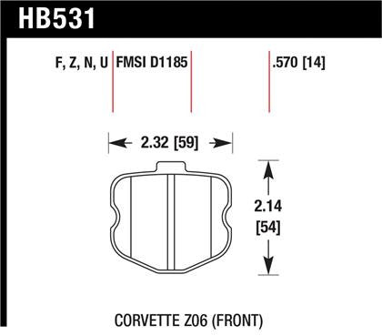 Hawk 06-10 Chevy Corvette (OEM Pad Design) Front HP+ Sreet Brake Pads