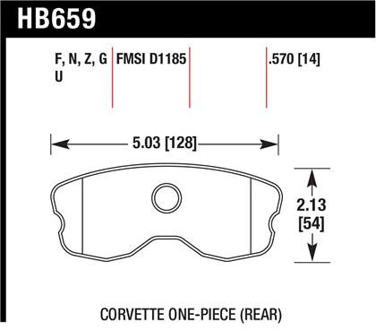 Hawk 06-10 Chevy Corvette (Improved Pad Design) Rear HPS Sreet Brake Pads