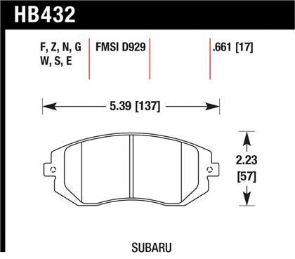 Hawk 2006-2006 Saab 9-2X 2.5i High Performance Street 5.0 Front Brake Pads