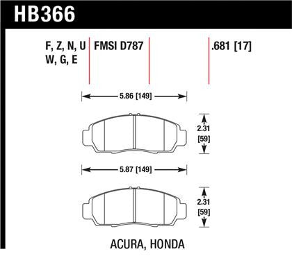 Hawk 2001-2003 Acura CL Type-S High Performance Street 5.0 Front Brake Pads