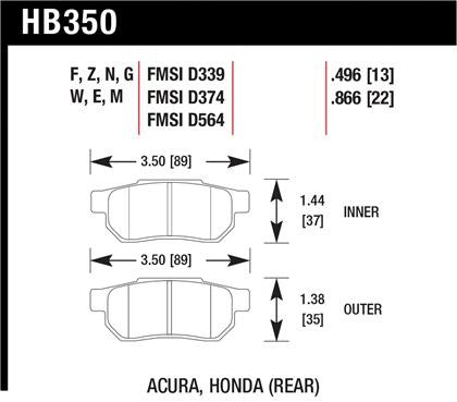 Hawk 90-01 Acura Integra (excl Type R) / 98-00 Civic Coupe Si HPS Street Rear Brake Pads