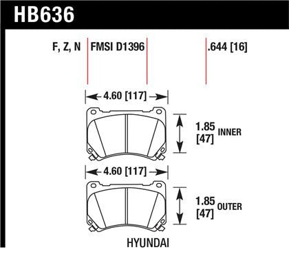 Hawk 09-10 Hyundai Genesis Sedan V8 Performance Ceramic Street Front Brake Pads