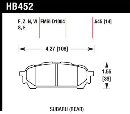 Hawk 03-05 WRX D1004 Performance Ceramic Street Rear Brake Pads