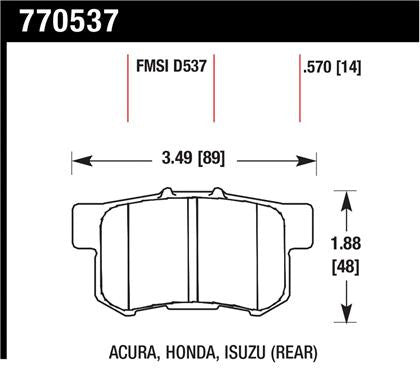 Hawk 06+ Civic Si OES Street Rear Brake Pads
