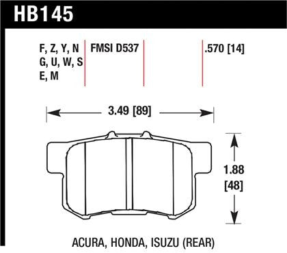 Hawk 06+ Civic Si / 97-01 Integra Type-R / 03-06 RSX / 04-08 TSX / 03-07 Honda Accord / 97-01 Prelude SH / 04-09 Honda S2000 2.2L Blue 9012 Race Rear Brake Pads