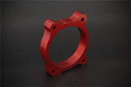 Torque Solution Throttle Body Spacer - Red: Hyundai Genesis V6 10-12