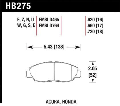 Hawk 1997-1997 Acura CL 2.2 High Performance Street 5.0 Front Brake Pads