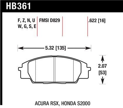 Hawk 02-06 Acura RSX Type S / 06-11 Honda Civic Si Coupe / 00-09 S2000 DTC-30 Race Front Brake Pads